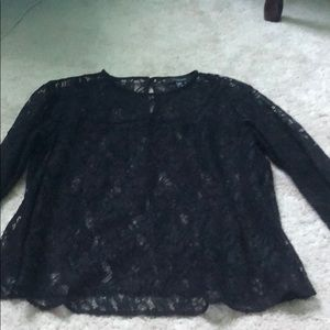 3/4 length sleeve all black lace top